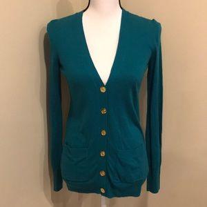 C. Wonder Button Long Turquoise Cardigan Sweater
